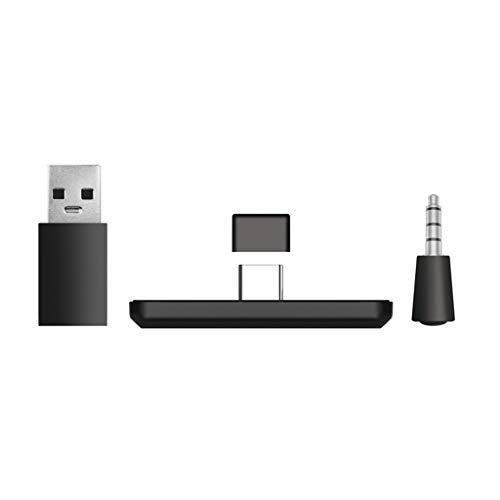 wjf Adaptador Bluetooth inalámbrico, Adaptador de Receptor de Auriculares transmisor USB con Conector de micrófono de 3,5 mm para PC PS4 Switch Nintend