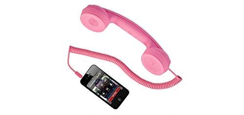 """hi-Fun Hi-Ring, Cornetta Vintage con Filo e Jack Audio da 3.5"""", Colore Rosa"""