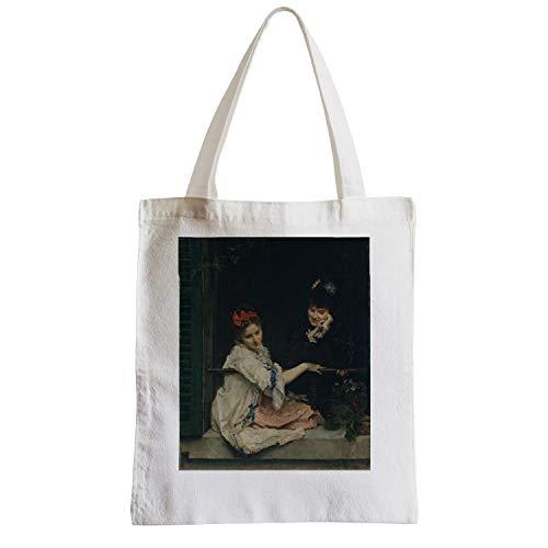 fabulous Große Tasche Sack Strand Schüler Malerei von zwei Frauen auf der Suche durch das Fenster Vintage Original Romantisch