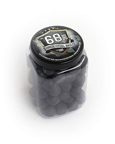 100 x Premium Hard Mix Rubber Steel Balls Paintballs Reballs 68 Cal. HDR T4E RAM HARTGUMMİ Stahl Kugel für Revolver Pistol