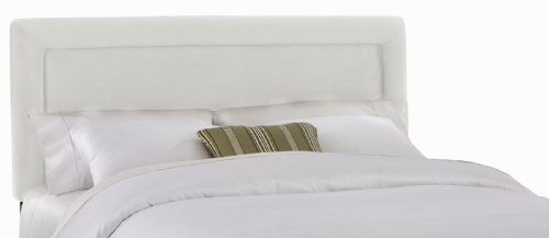 Big Sale Best Cheap Deals Skyline Furniture Addison Queen Velvet-Upholstered Border Headboard, White