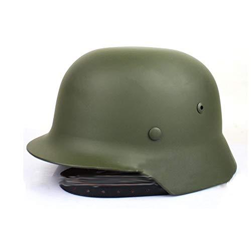 XYLUCKY WW2 Deutscher Stahlhelm M35 mit Netz und Schutzbrille, hochfester Stahlhelm aus dem 2. Weltkrieg mit Lederfutter,Grün