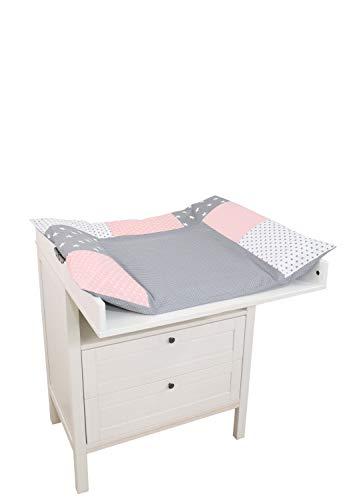 ULLENBOOM ® Wickelauflagenbezug 75x85 cm Rosa Grau (Made in EU) - Bezug für Wickelauflage, Baby Überzug für Wickelunterlage aus Baumwolle, Wickelbezug für Wickeltisch, Motiv: Sterne, Punkte
