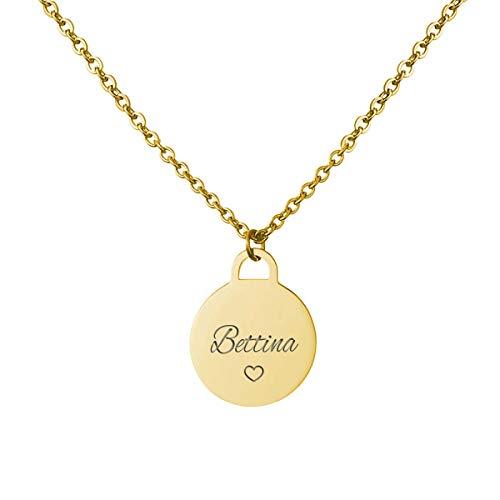 URBANHELDEN - Kette mit Wunschgravur - Damen-Kette Namenskette - Amulett mit Namen graviert - Personalisierte Münz-Kette Coin 1 - Gold
