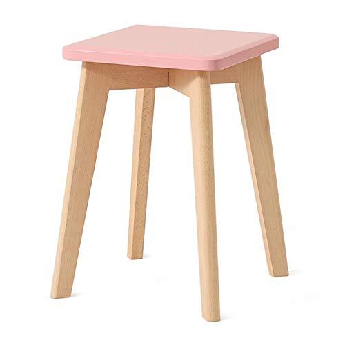 Dall Tabouret Carré Bois Massif Le Salon Tabouret De Table Tabouret De Maquillage Bonbons Couleurs 29 * 29 * 43cm (Couleur : Pink)