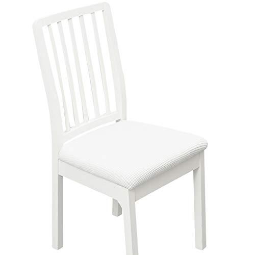Stretch Stuhl Sitzbezüge Für Esszimmer, Jacquard Esszimmerstuhl Sitzkissen Protektoren Stuhl Schonbezüge (Natural White,40-50cm)