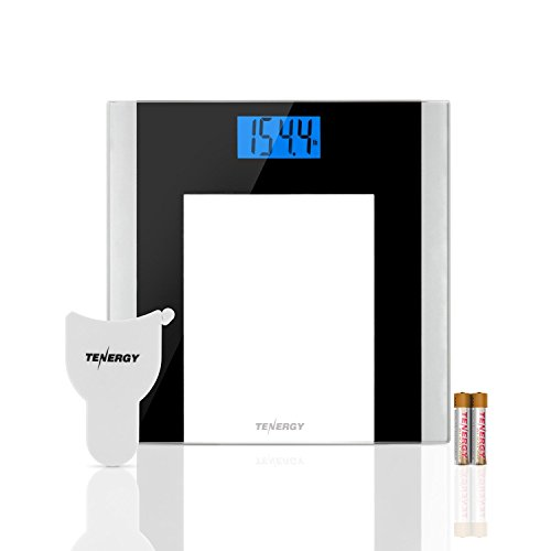 Tenergy Body Weight Scale with Step-On Technology, Tempered Glass Platform w/Backlit LCD, High Precision Digital Bathroom Scale, 400-Pound Capacity, Bonus...