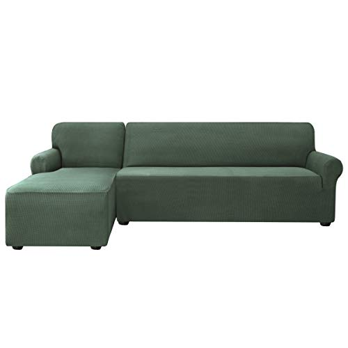 subrtex Sofabezug L Form Stretch Sofahusse Ecksofa Elastisch Antirutsch Eckcouch überwurf Weich Stoff Abwaschbar (Links 2 Sitzer, Olivgrün)