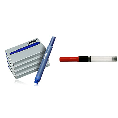 Lamy Cartuchos de tinta para pluma estilográfica 2077-4er-Set, T10, color azul, 4 paquetes (20 cartuchos) + 1324763 Conversor Z28 para pluma estilográfica