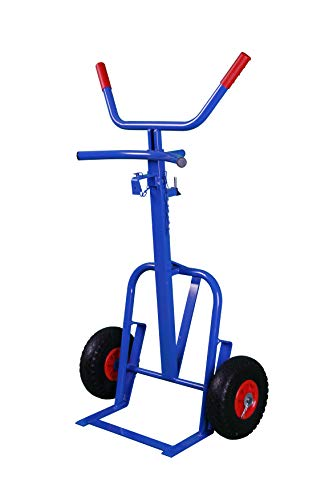 Sackkarre, Fass 250 kg 112x65x42 cm, blau, Sackkarre für Fässer und Tonnen (Transportkarre Stapelkarre Handkarre, Umzugskarre, leichte Sackkarre aus Stahl klappbar für Umzug)