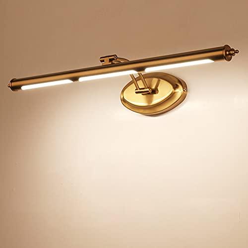 QEGY Lámpara de Espejo Baño Latón LED, Vintage Luz de Espejo Baño...