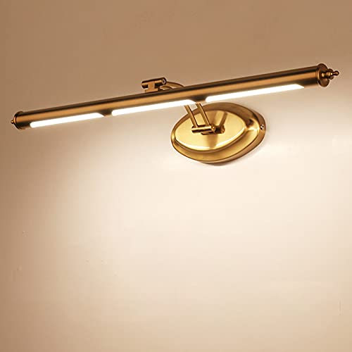 QEGY Lámpara de Espejo Baño Latón LED, Vintage Luz de Espejo Baño con Blanco Neutro, Brazo arc Giratoria Aplique Espejo Baño Retro con Pantalla de Acrílico Luz de Gabinete IP44,75cm16w