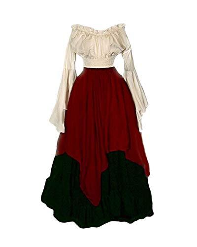 Disfraz Traje Medieval para Mujer Traje Princesa Reina Dama Medieval Cosplay Criada Rojo M