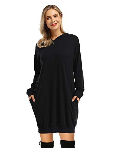 KOJOOIN Damen Hoodie Pullover Sweatshirts Casual Langarm Kleid Kapuzenpullover Pulli Schwarz XL