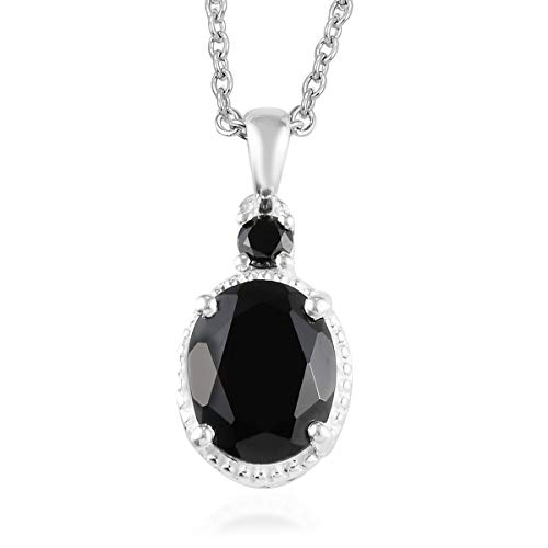 Oval Black Spinel Cubic Zirconia CZ Black Chain Pendant Necklace for Women 20' Ct 3