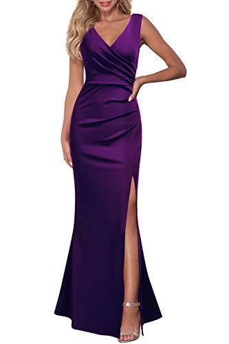 WOOSEA Women Sleeveless V Neck Split Evening Cocktail Long Dress Purple, Small