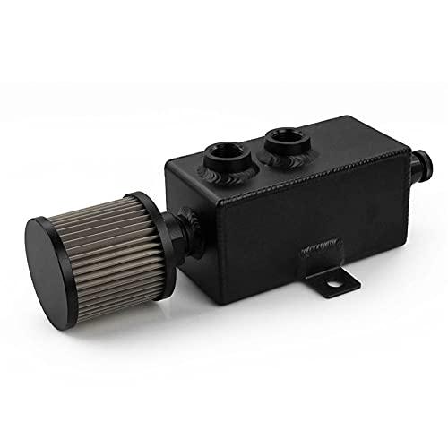 1L Universal del coche de aluminio de la captura de aceite puede tanque negro plata tanques de combustible con el filtro de ventilación del grifo desagüe 1LT desconcertado RS-OCC010 ( Color : Black )