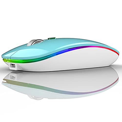 Kabellose Maus, wiederaufladbar, 2,4 GHz, Optische Maus, leise, Click mit Nano-USB-Empfänger, LED Maus für Laptop, Desktop, Macbook (blau)