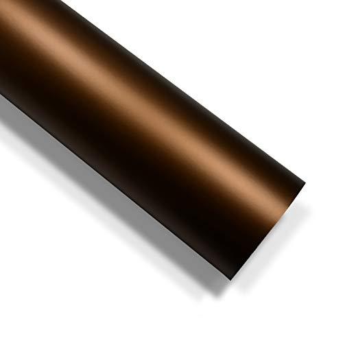 folimac 10 €/m² Braun Chrom Matt Metallic Autofolie Blasenfrei mit Luftkanäle (200cm x 152cm)