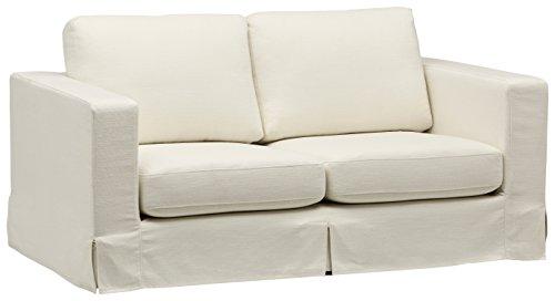 Amazon Brand – Stone & Beam Bryant Modern Loveseat Sofa Couch with Slipcover, 69.3'W, Optic White