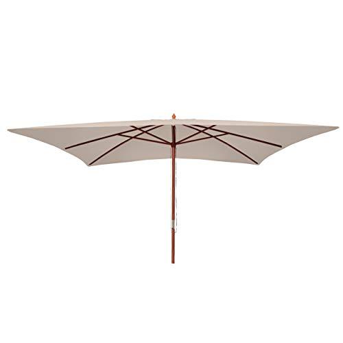 Mendler Sonnenschirm Florida, Gartenschirm Marktschirm, 3x4m Polyester/Holz 6kg - Creme