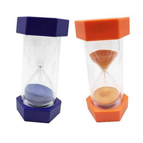Sharplace 2x Sabliers Minuterie Horloge de Sable Hourglass en Plastique Verre Sable Désigné Pour Jeux Cuisine Exercice