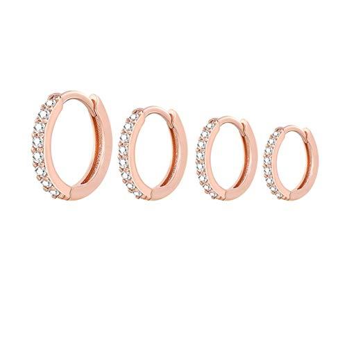 YXLM Damas Pendientes Mujeres/Hombres Pendientes de aro pequeño Ear Hueso Pequeño oído Nariz Anillo Niña Ear Hoops (Gem Color : Rose Gold, Metal Color : 9mm)