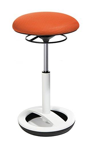 Topstar Sitness High Bob, Stehhilfe, Fitnesshocker, Arbeitshocker, Sitzhöhe: 49 - 70cm, Standfußring Alu weiß lackiert, Stoffbezug, orange