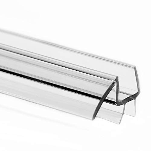 """eatelle Frameless Ultra Clear Shower Door Bottom Seal with Drip Rail - 1/4"""" Thick, 36"""" Long Sweep - Glass Door Seal Strip Ultra Clear Durable Polycarbonate Stop Shower Leaks"""