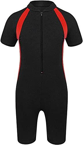 Trajes de buceo, niños niños de una pieza protección solar traje de hidromasaje Mangas cortas UPF 50+ traje de buceo con cremallera Rash Guardia traje de baño (Color : Red, Size : 7-11Years)
