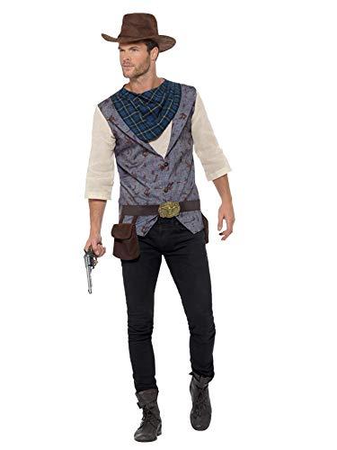 Smiffys 47245L Rugged Costume Robustes Cowboy-Kostüm, braun, L - Size 42