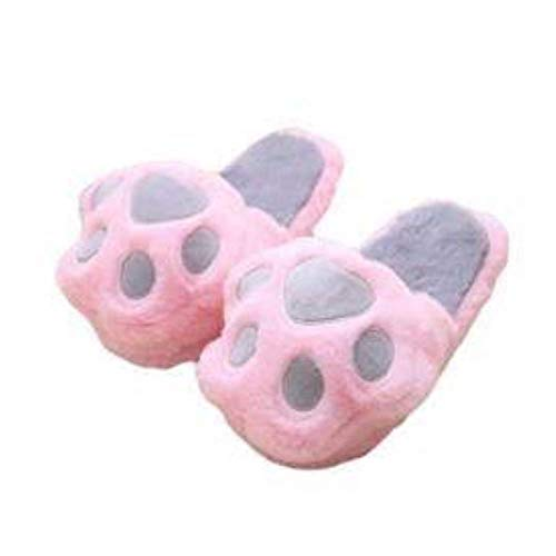 eBoutik - Novelty Plush Soft Slippers (Children & Adults) (Pink Paws (Small))