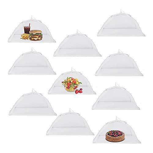 Coairrwy Ombrello da Tenda da 17 Pollici con Copertura per Alimenti Un Rete -Up da 10 Pezzi per Esterno, Barbecue, per Tenere Lontane Le Mosche, Riutilizzabile e Pieghevole