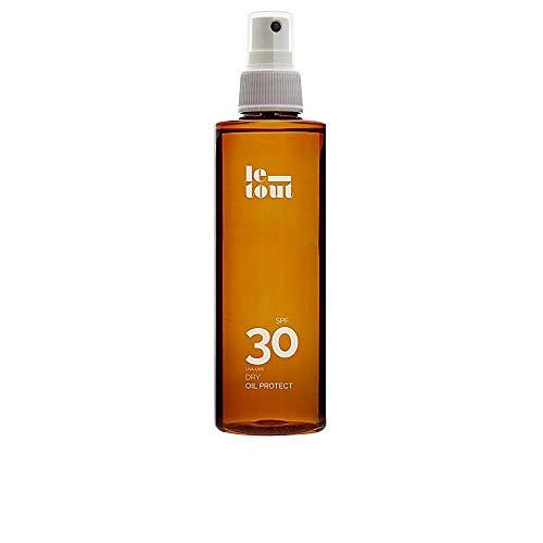 Le-Tout Dry Oil Protect SPF 30, Aceite Bronceador resistente agua, protección UVA y UVB reduce las quemaduras, con Aceite Argán y Zanahoria para hidratar la piel. Rápido y duradero bronceado. 200ml