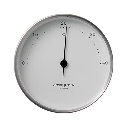 Georg Jensen Koppel Thermometer 10 cm, Edelstahl mit weißem Ziffernblatt