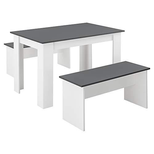 [en.casa] Tisch- und Bank Set 3 teilig Essgruppe für 4 Tisch 110 x 70 cm mit 2 Bänken Tischgruppe Sitzgruppe Weiß/Grau