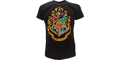 DC Comics Camiseta Escuela de Hogwarts HP - 100% Oficial - Talla Niño/Niño/niña Negro 7-8 Años