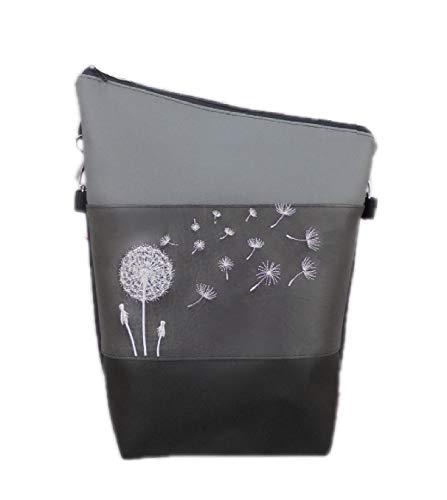 pinkeSterne ☆ Handtasche PUSTEBLUME Handmade Bestickt Stickerei Handmade Grau Schwarz