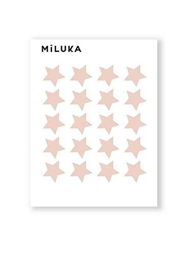 Pack de Pegatinas y Vinilos para Decoración de Pared | Estrellas | Adhesivos Decorativos Formas Geométricas Infantil | 40uds | Blanco, Negro, Rosa, Azul (Rosa Empolvado)