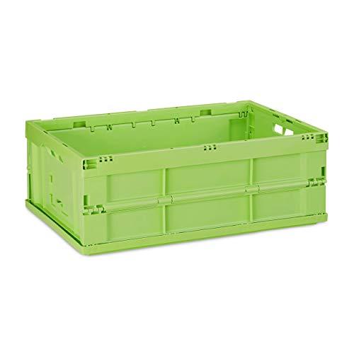 Relaxdays Profi Klappbox, stabil, Gewerbe, hochwertiger Kunststoff, Qualität, Kiste, HBT 20,5 x 59,5 x 40 cm, grün