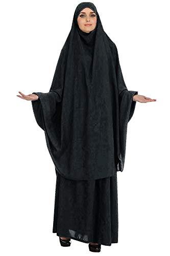 GladThink Mujeres Musulmanas adoración Abaya Top Largo Hijab y Falda Vestido de 2 Piezas Negro XXL