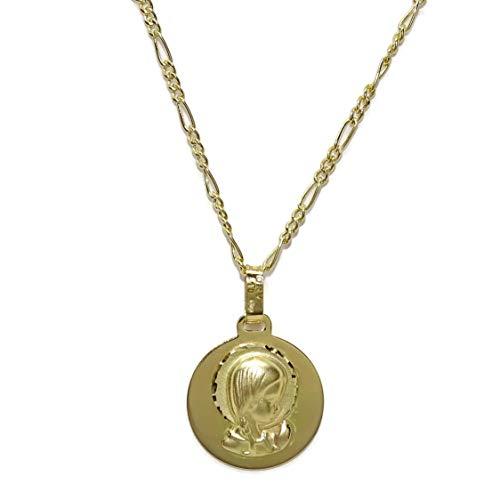 Never Say Never Medalla Virgen niña de Oro Amarillo de 18k de 14mm con Cadena 3x1 de 45cm Todo Oro de 18k