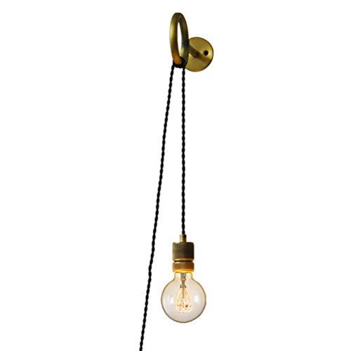 CLOVEML Lámpara de Pared Retro Industrial E27 lámpara de Pared lámpara Edison de latón con Interruptor, con Enchufe de Cable Ajustable de 2.0 M, lámpara de Noche Dormitorio lámpara de decoración