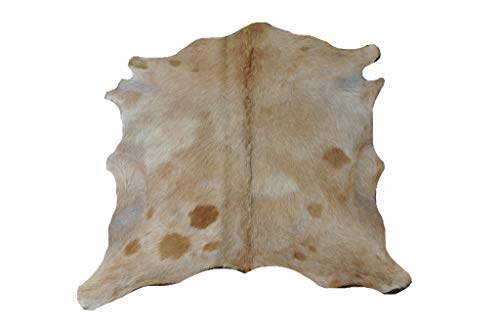 Ziegenfell Fellteppich Natür - Schönes Beige Muster - 83 cm x 79 cm Echtes Designer Lederteppich von Narbonne Leder Co