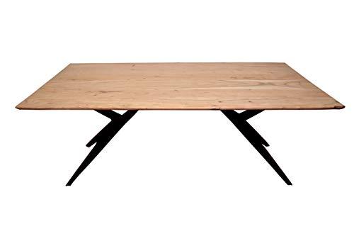 SAM Esszimmertisch 200 x 100 cm Heidi, Akazienholz massiv, naturfarben, Tischplatte 26 mm mit Schweizer Kante, Airloft-Gestell aus schwarzem Metall