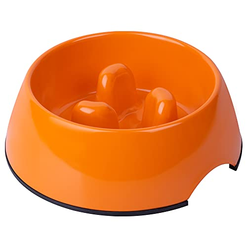SuperDesign Anti-Gulping Dog Bowl Slow Feeder, Interactive Bloat Stop Pet Bowl for Fast Eaters 1.5 Cup Orange