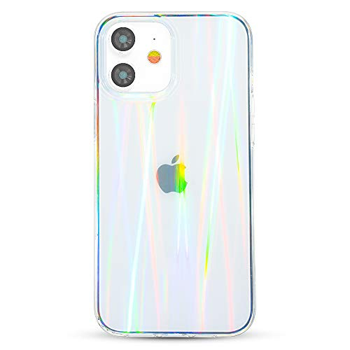 KINGXBAR Clear Protective Case Compatible with Apple iPhone 12, iPhone 12 Pro, 6.1' inch Skin Covers, Holographic Phone Case Cover Soft TPU Frame + Hard PC Back Shockproof Bumper Cover