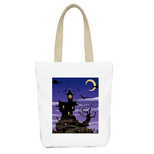 TAMALLU Frauen Reißverschluss Handtasche Umhängetaschen Canvas Freizeit Retro Totes Haspe Package(Weiß I)