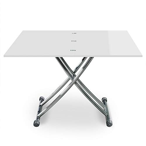 Menzzo Table Basse Relevable Bois/Inox Laqué Blanc | Table a Manger Rehaussable et Extensible | Table Transformable et Modulable | Contemporain, Moderne | B2219S Carrera |L57/100 x P100/114,2 x H39/76