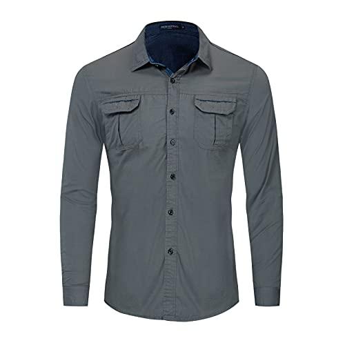 Camisas de Manga Larga Tipo Cargo para Hombre Bolsillos con Costuras a la Moda Color sólido Solapa clásica Camisa con Botones de Ajuste Regular M